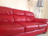 3+2 red leather seater sofas