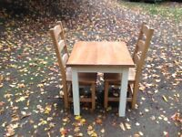 Pine painted farmhouse dining kitchen table two chairs country