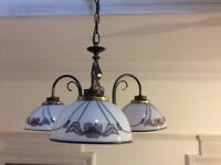 Vintage style 3 lamp brass and glass chandelier