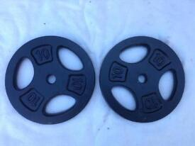 2 x 10kg Tri-Grip Standard Cast Iron Weights