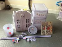Girls angel and fairy room Next accessories curtain rail, stickers, bin, clock & 3 drawer unit