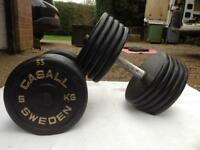 2 x 55kg Casall Sweden Cast Iron Dumbbell Weights
