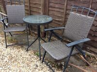 Free! Bistro garden set - glass table and two chairs