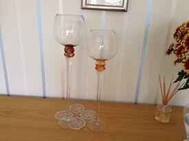 Pair stemmed glass bowls
