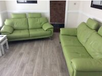 DFS Modern Leather suite Pastachio Green