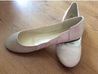 Ivory satin flat shoes size 7