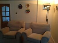 M&S 3 seater sofa, 2 armchairs and footstool. Excellent condition.