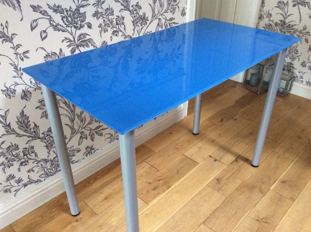 Ikea Blue Glass Top Desk