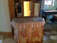 Kidney shaped dressing table, glass top, no chips, covered in Laura Ashley
