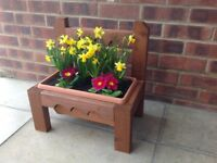 Wooden hand made planter with plastic tray insert