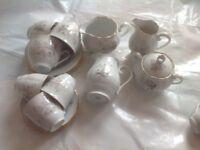 Tea Set x 6 trios 3 jug and sugar - red flower - OND DAY SALE