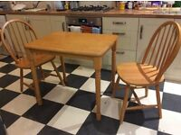 Pine kitchen table and 2chairs