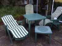 Table & chair all weather patio set with removable foam cushions