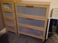Ikea drawers x 4 sets beech colour
