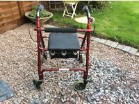 Mobility walker shopper with bag and seating