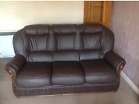 Small dark brow leather suite as new.