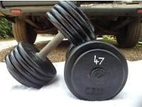 2 x 47kg Cast Iron Dumbbell Weights