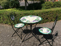 Circular Mosaic Bistro Table and 2 Chairs