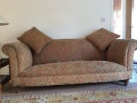 Three seater sofa, quality fire retardent moquette & cushions and arm chair