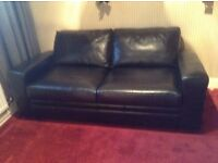 Next Black Leather Double Sofa Bed