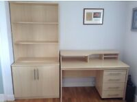 Computer desk with matching drawers and bookcase