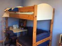 Stompa Casa Cream & Blue High Sleeper with desk & futon / sofabed