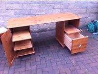 Pine double pedestal computer desk with filing drawer