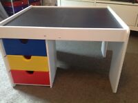 Children's play table with drawers - Lego/chalk board top - just £20