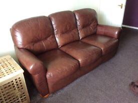 Brown leather tan 3 seater sofa and 2 chairs