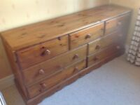 LONG CHEST OF SOLID PINE DRAWERS (3 OVER 4)