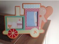 Mamas and Papas Gingerbread wooden train shaped photograph frame