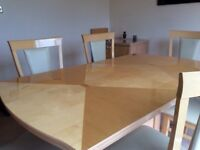 Extendable birch table with 6 cream leather chairs and 2 door side cabinet