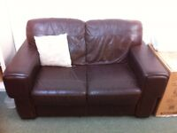 Brown Leather Two Seater Sofa. Good condition