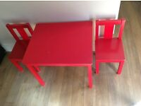 Ikea kids red table and chairs