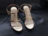 Brand new gold Faith block heel shoes