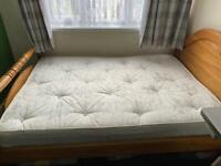 Pine double bed with matteress