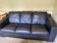 Dark brown leather sofa & pouffe
