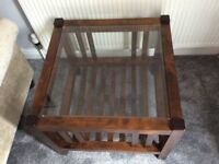 Laura Ashley square glass topped coffee/ side table