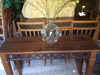 Dark pine and metal inlay Italian dinning table, 4 chairs and console table.