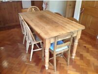 Pine kitchen table, 5ft x 3ft