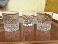 Three cut glass whisky tumblers