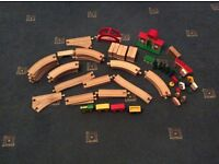 Wooden Railway and Engine Play Set