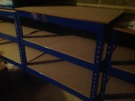 Metal racking for sale, waist height, wooden shelves, £10 each, 9 available