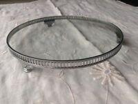 Vintage metal rimmed glass cake stand-single tier