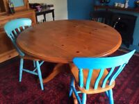 Solid Pine Wood Rustic Farm House Vintage Dining Room Table With 3 Blue & Black Solid Pine Chairs