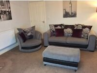 DANNI 3 SEATER SOFA SWIVEL CHAIR AND FOOTSTOOL SCS PURPLE AND GREY GREAT CONDITION SETTEE SUITE SOFA