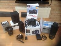 Mint Condition Canon EOS 760D with Three Lenses Spare Battery Hoods