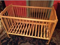 Mothercare cot, beech, dropside, good condition.