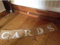 Hessian card banner