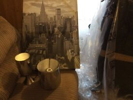 New York City scene lamp shade and matching bedside table lamp with a canvas print
